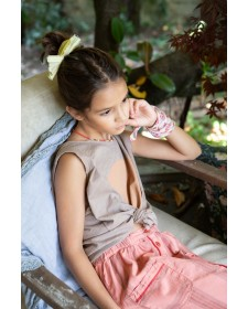 GIRL SLEEVELESS T-SHIRT TAUPE W/PEACH PRINT PIUPIUCHICK