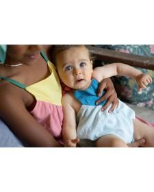 BABY TRI-COLOR ROMPER BLUES & GARNET PIUPIUCHICK