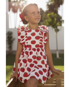 GIRL DRESS TOMATOES MON PETIT BOMBON