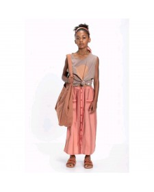 GIRL LONG SKIRT PINK AND MULTICOLOR STRIPES PIUPIUCHICK
