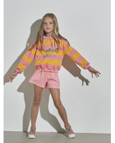 GIRLS ORANGE/PINK STRIPES SWEATSHIRT NANOS
