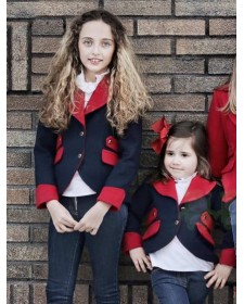 GIRL BLAZER NAVY BLUE & RED