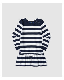 GIRLS NAVY WHITE STRIPES DRESS
