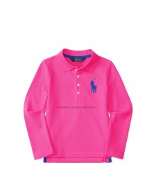 GIRLS PINK STRETCH SMESH POLO