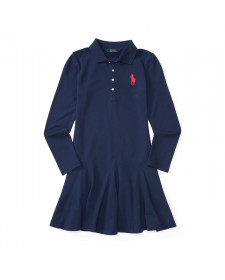 GIRLS NEWPORT NAVY COTTON POLO DRESS