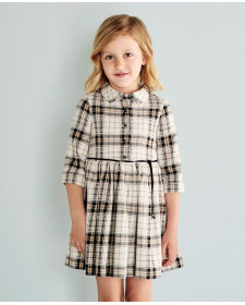 GIRLS BLACK CHECK DRESS