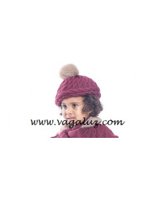 GIRLS GRANATE WOOL HAT
