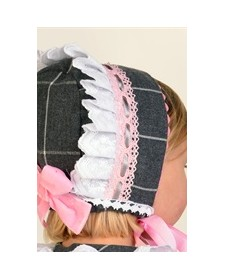 GIRL GREY AND PINK BONNET