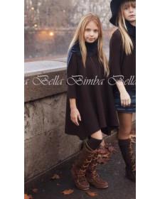 GIRL WOOL BROWN DRESS