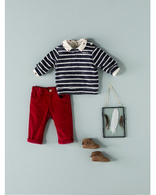 BABY BOYS RED MICROCORDUROY TROUSERS