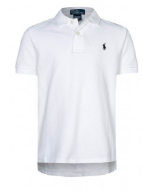 BOYS WHITE SOLID BASIC MESH POLO