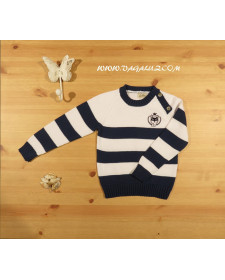 BOYS CARDIGAN STRIPE BLUE AND WHITE