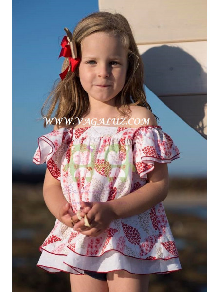 GIRLS DRESS RED PRINT AND BLUE KNICKERS