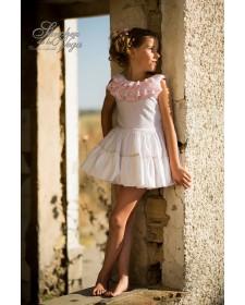 GIRLS WHITE PLUMETTI DRESS
