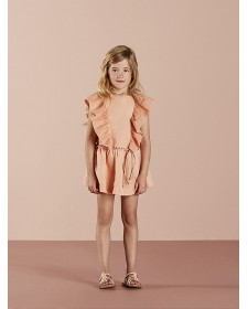 GIRLS LINEN PINK DRESS