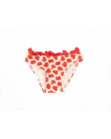 GIRLS RED FLOWERS PRINT BIKINI BOTTOM