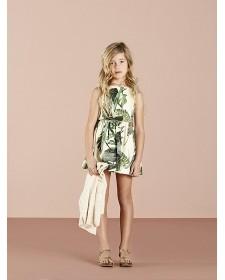 GIRLS GREEN PRINT DRESS