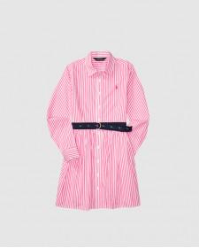 DROP WAIST-DRESSES-WOVEN PINK/WHITE