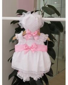 BABY GIRL BONNETWHITE PLUMETI