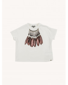 GIRL FEATHERS PRINT T-SHIRT MISS GRANT