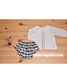 BABY GIRL BLOUSE AND CHECK BLOOMERS
