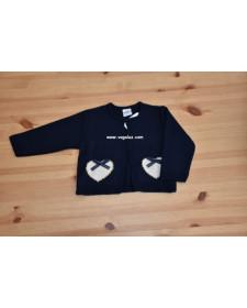 BABIES MARINE/BEIGE HEART CARDIGAN ROCHY