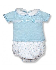 BABY 2 PIECES FOQUE BLUE AND FLOWERS