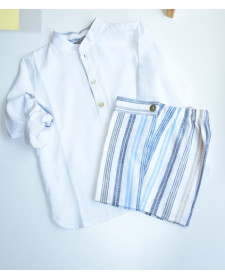 CAMISA Y SHORT NIÑO KID´S CHOCOLATE RAYAS