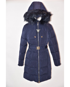 GIRL NAVY FEATHERS COAT GUESS