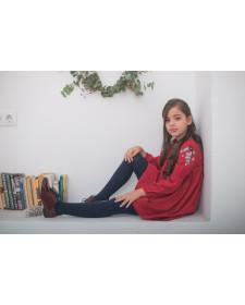 GIRL RED DRESS PLUMETI RAIN