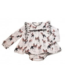BABY GIRL DRESS AND KNICKERS MON PETIT BONBOM DOGS