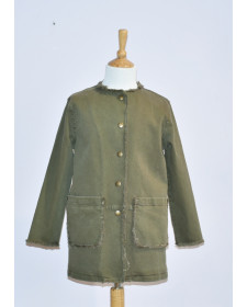 GIRLS MOSS GREEN COAT TARANTELA