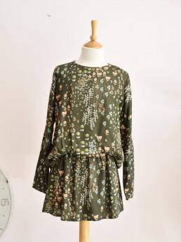 GIRLS PRINTED MOSS GREEN DRESS TARANTELA