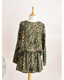 GIRLS PRINTED MOSS GREEN DRESS TARANTELA