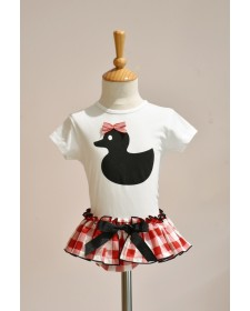 GIRLS T-SHIRT AND RED CHECK KNICKERS MON PETIT BOMBON