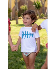 BOYS BLUE FISH T-SHIRT MON PETIT BOMBON