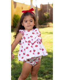BABY GIRLS DRESS AND BLOOMERS MON PETIT BOMBON