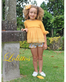 GIRLS YELLOW SWEATER AND SHORT LOLITTOS