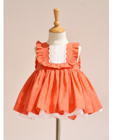 GIRLS LINEN ORANGE DRESS AND KNICKERS NOMA FERNANDEZ