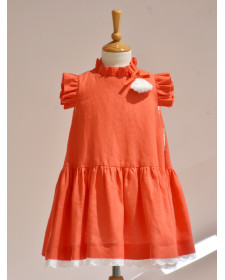 GIRLS ORANGE LINEN DRESS NOMA FERNANDEZ