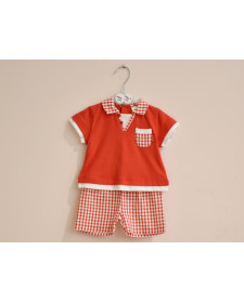 BABY BOY RED T-SHIRT AND SHORTS TUTTO PICCOLO