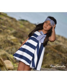 GIRLS NAVY BLUE STRIPES DRESS NOMA FERNANDEZ