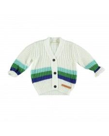 KNITTED JACKET ECRU WHITH GREEN STRIPED