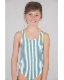 GIRLS GREEN STRIPES SWIMSUIT LUCA BYNN