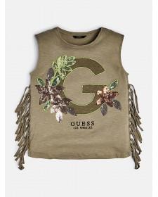 GIRL GREEN T-SHIRT GUESS