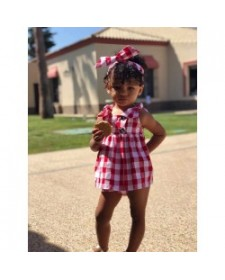 BABY GIRLS RED CHECK DRESS AND BLOOMERS MON PETIT BOMBON