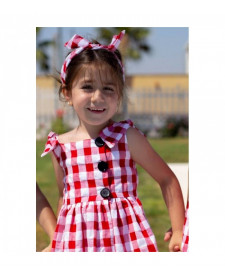 GIRLS RED CHECK DRESS MON PETIT BOMBON