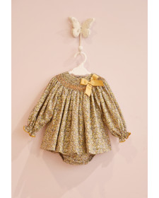 BABY GIRLS LIBERTY DRESS AND KNICKERS MON PETIT BOMBON