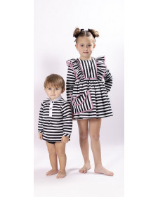 GIRLS STRIPES DRESS MON PETIT BOMBON