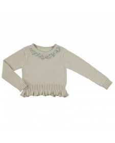 GIRL BEIGE SWEATER WITH STRASS ABEL Y LULA